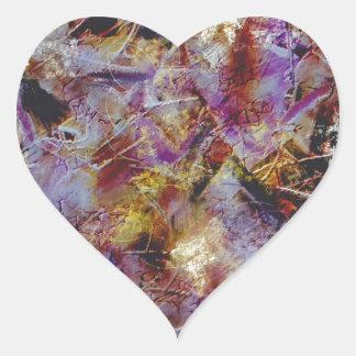 Extracto púrpura de la neblina pegatina en forma de corazón