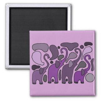Extracto púrpura del arte del elefante imán cuadrado