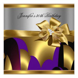 Extracto púrpura del gris de plata del oro de la f invitacion personal