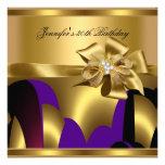 Extracto púrpura del oro de la fiesta de cumpleaño invitacion personal