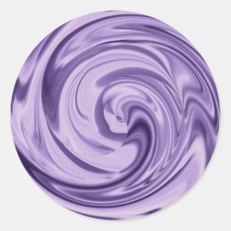 Extracto púrpura del remolino del satén pegatina redonda