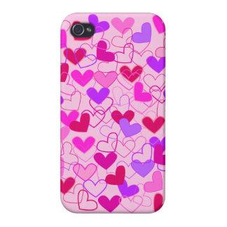 Extracto púrpura y rojo rosado femenino lindo de l iPhone 4/4S carcasas