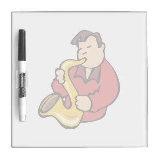 extracto red.png del hombre del jugador de saxofón pizarras blancas de calidad