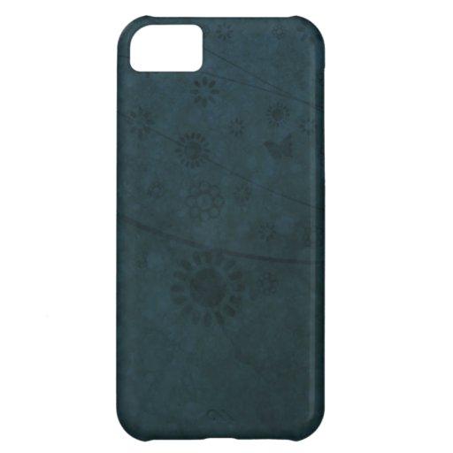 Extracto retro azul profundo de las flores y de la funda para iPhone 5C