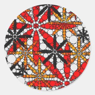 Extracto retro de la flor pegatina redonda