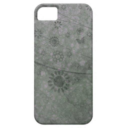 Extracto retro de las flores y de las mariposas de iPhone 5 carcasa