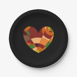 Extracto retro del corazón del otoño plato de papel de 7 pulgadas