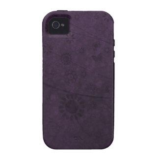 Extracto retro púrpura de las flores y de las mari vibe iPhone 4 fundas
