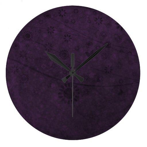 Extracto retro púrpura de las flores y de las mari reloj redondo grande