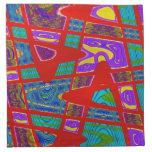 extracto rojo colorido de la turquesa servilletas imprimidas