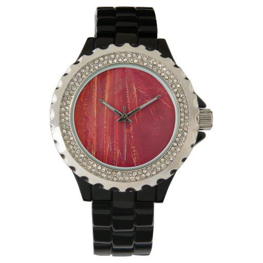 Extracto rojo contemporáneo de la bella arte del © reloj