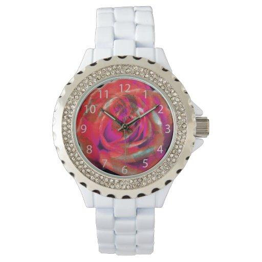 extracto rojo de los pétalos color de rosa relojes de pulsera