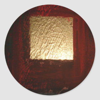 Extracto rojo del oro de Brown Pegatinas Redondas
