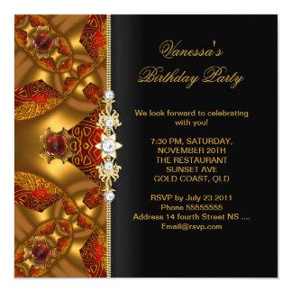 """Extracto rojo elegante de la joya de la fiesta de invitación 5.25"""" x 5.25"""""""