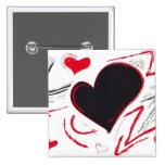 Extracto Rojo-Negro del corazón Pins