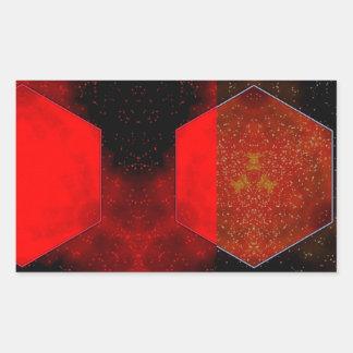 Extracto rojo pegatina rectangular