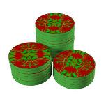 Extracto rojo verde del día de fiesta fichas de póquer