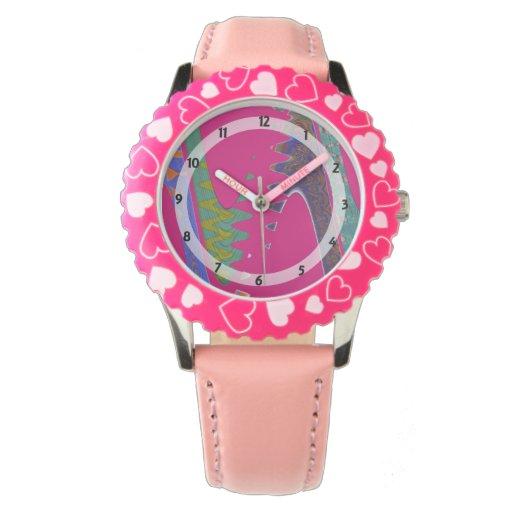 extracto rosado brillante colorido reloj de mano