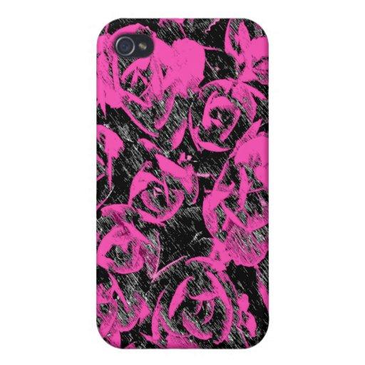 Extracto Rosado-Negro de la flor iPhone 4/4S Funda