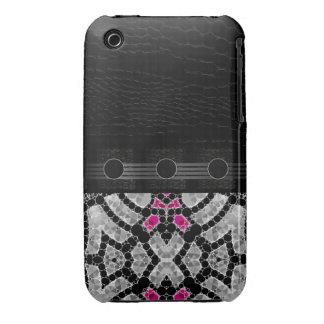 Extracto rosado negro de lujo iPhone 3 carcasas