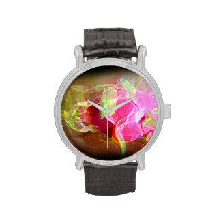 extracto rosado que brilla intensamente stylized d relojes