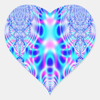 Extracto rosado y azul de neón de Rocket Pegatina En Forma De Corazón