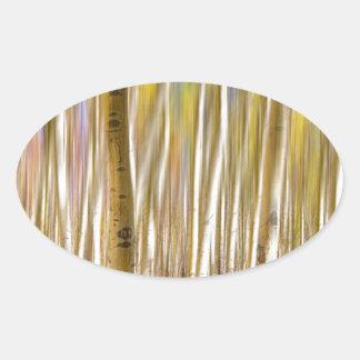 Extracto surrealista del árbol de Aspen Pegatinas Ovales