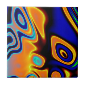 Extracto Trippy azul anaranjado fluorescente Azulejo Cuadrado Pequeño
