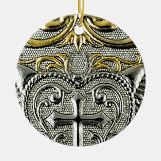 Extracto único fresco del modelo del metal adorno navideño redondo de cerámica