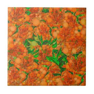 Extracto verde anaranjado fluorescente de la flor azulejo cuadrado pequeño