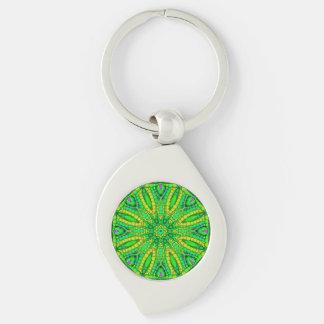 Extracto verde fluorescente llavero plateado en forma de espiral