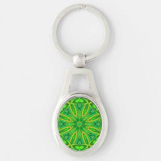 Extracto verde fluorescente llavero plateado ovalado