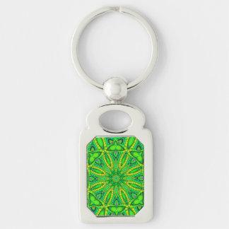 Extracto verde fluorescente llavero plateado rectangular