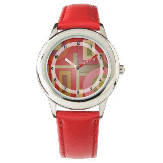 Extracto verde rojo de los círculos de los reloj de mano