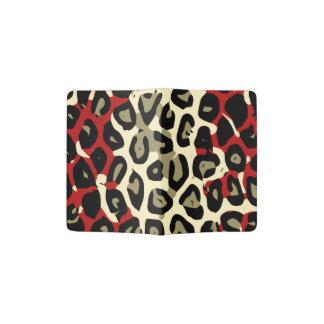 Extracto verde rojo del guepardo del camuflaje porta pasaporte