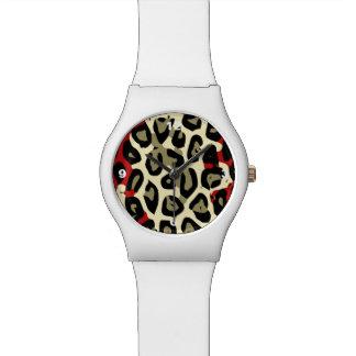 Extracto verde rojo del guepardo del camuflaje reloj