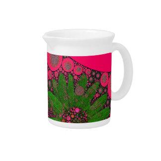 Extracto verde rosado magnífico de la flor jarra de beber