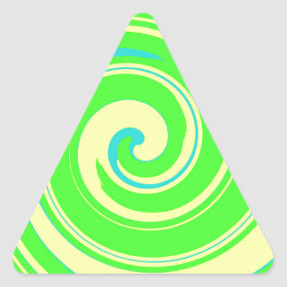 Extracto verde y amarillo fresco pegatina triangular