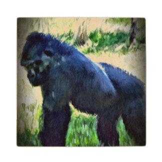 Extracto vibrante del gorila posavasos de madera