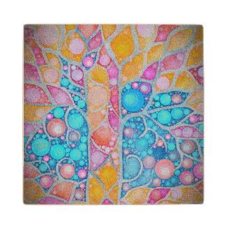 Extracto vibrante hermoso de los colores posavasos de madera