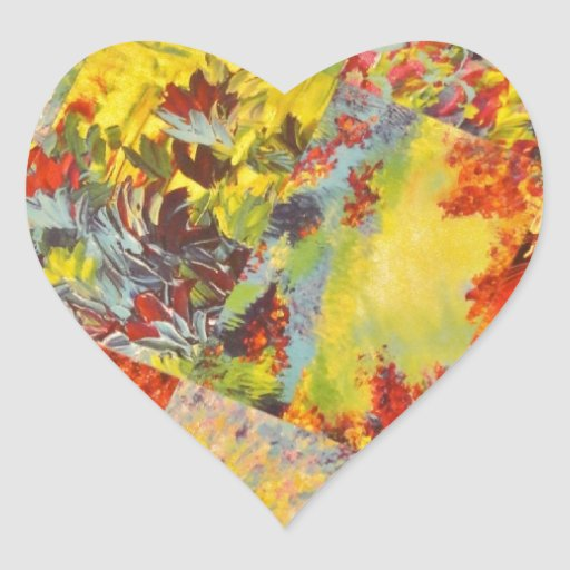 Extracto vivo salvaje del arco iris de la pegatina en forma de corazón