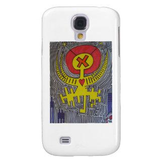 Extranjero amarillo del ángel X con halo rojo Funda Para Galaxy S4
