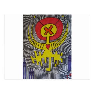Extranjero amarillo del ángel X con halo rojo Tarjetas Postales