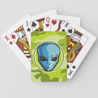 Extranjero azul; camo verde claro, camuflaje cartas de juego