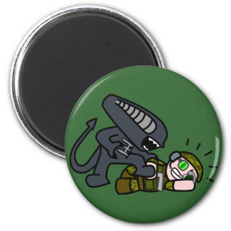 Extranjero contra el soldado 2 imán redondo 5 cm