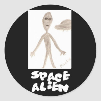 extranjero de espacio pegatina redonda