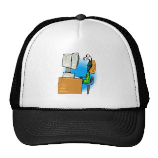 Extranjero de la hermana en el ordenador gorra