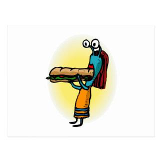 Extranjero de la hermana que come el submarino tarjetas postales