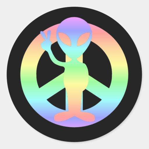 extranjero de la paz pegatina redonda