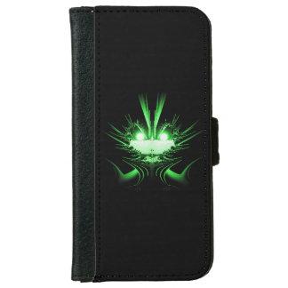 Extranjero del verde de los ojos que brilla funda cartera para iPhone 6